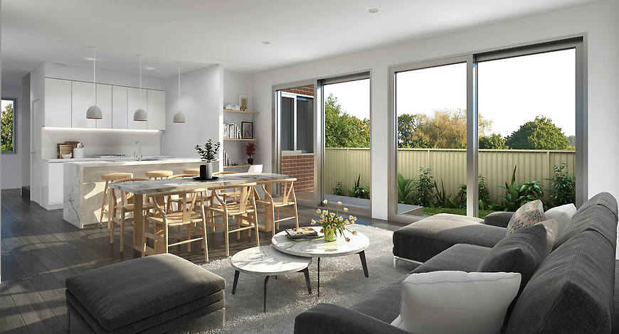 Small and Co Portfolio, 812 High Street Road, Glen Waverley 3D Render Living